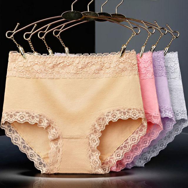 ZJX High Waist 5Pcs Women Panties Cotton Seamless Sexy Lace Women Comfort Underwear Body Shaper Female Soft Breathable Lingerie