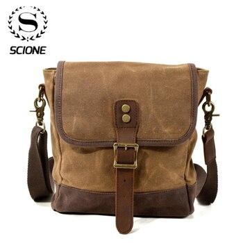 SCIONE Men Oil Wax Canvas Leather Crossbody Bag Men Military Army Vintage Messenger Bags Shoulder Bag Casual Travel Bags 1
