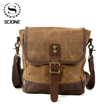 SCIONE Men Oil Wax Canvas Leather Crossbody Bag Military Army Vintage Messenger Bags Shoulder Casual Travel