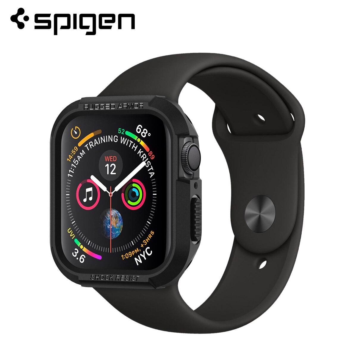 Spigen Rugged Armor Case For Apple Watch Series 5 / 4  Flexible Soft TPU Matte Black Cases 44mm 40mm