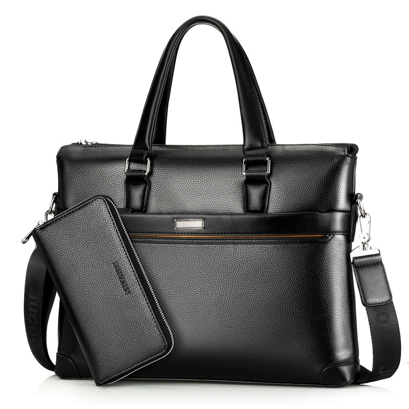 Famous Brand Men Briefcase PU Leather Laptop Briefcases Male Bag Business Shoulder Bags Men Bags High Quality Handbag WBS503-3