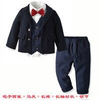 5 piece classic wedding boy suit woolen jacket + shirt + vest + red bow tie + pants party set