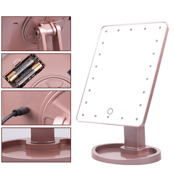 LED Lights Touch Screen Makeup Mirror Table Tri-fold Desktop Countertop Bright Adjustable USB Cable Or Batteries Use - discount item  46% OFF Skin Care Tool