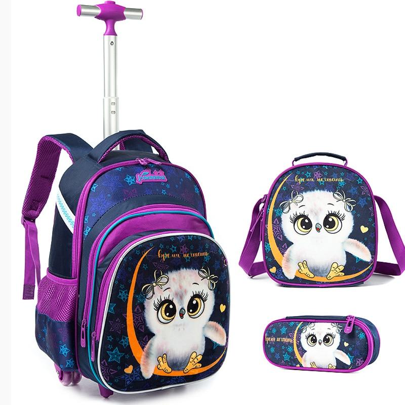 3PCS Rolling Travel School Backpacks For Boys Girl Laptop Backpacks Teenagers Satchel Luggage Large Capacity Wheeled School Bags