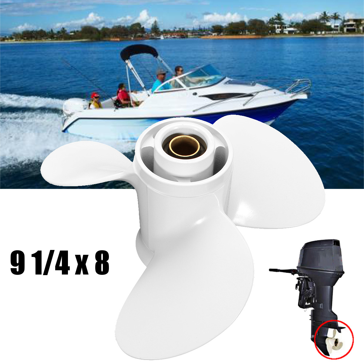 9.9-15 HP 20HP Prop 3 Blade Aluminum Propeller Quality for Yamaha White