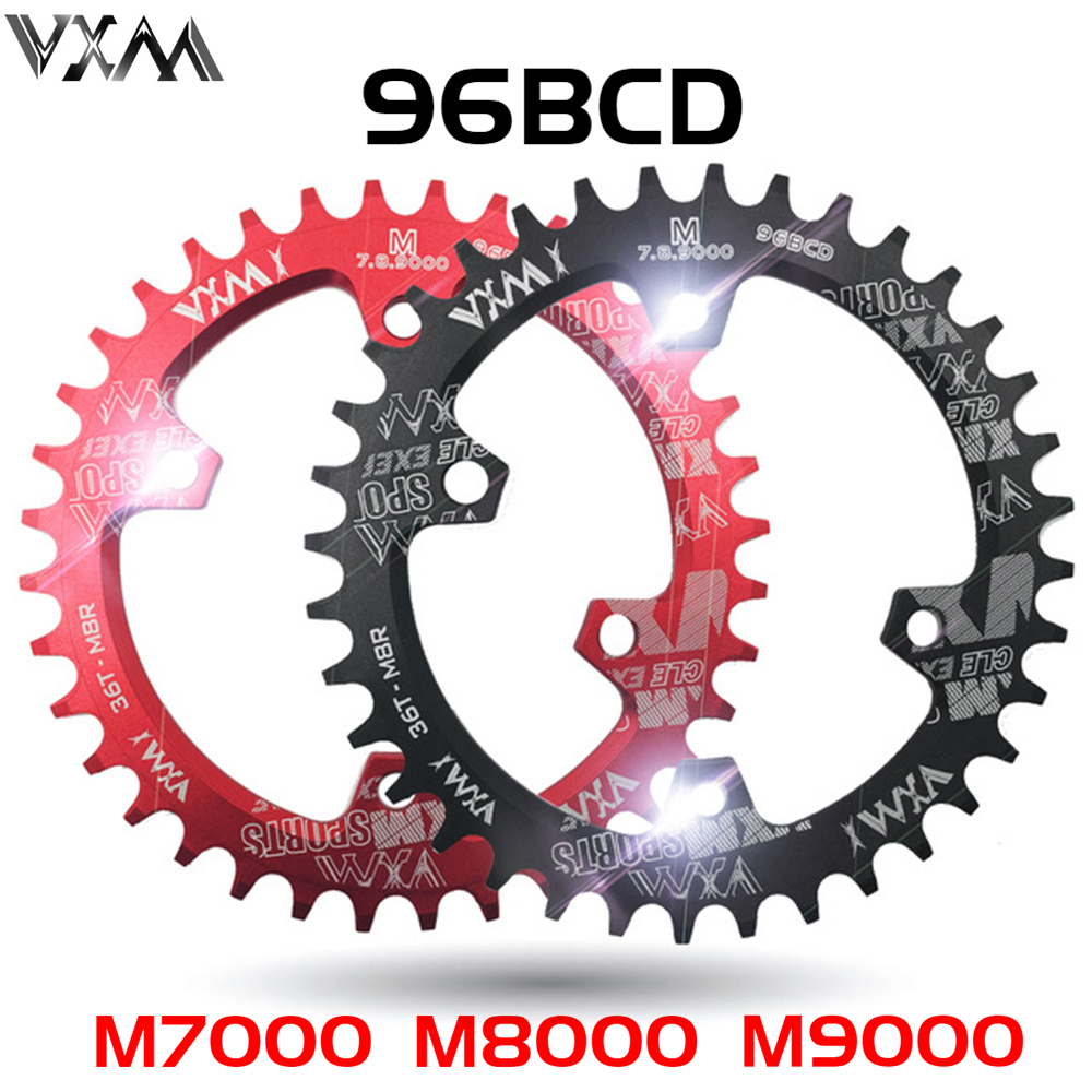 VXM Oval Round Bicycle Crank&Chainwheel 96BCD Narrow Wide Chainring 32T/34T/36T/38T For M7000 M8000 M9000 Parts