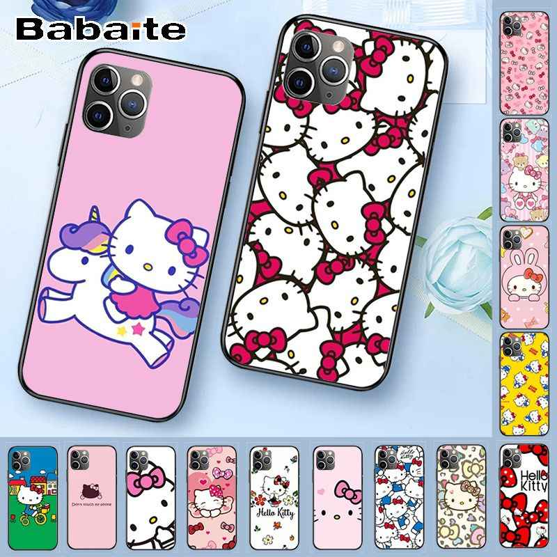 Hello Kitty สีดำ TPU สำหรับ iPhone X XS MAX 6 6s 11pro 7plus 8 plus 5S SE XR