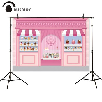 Allenjoy Photozone Candy Bar Party Sweet Shop Ice Cream Dessert Pink Girl Backdrops Curtain Birthday Celebrate Activity Decor - discount item  30% OFF Festive & Party Supplies