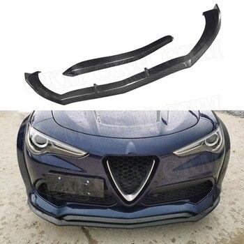Carbon fiber Front Bumper Lip Spoiler Chin Trim For Alfa Romeo Stelvio 2017 2018 2019 Bumper Guard Car Styling
