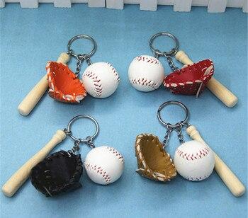 1pcs Mini Baseball glove wooden bat keychain sports Car Key Chain Ring Gift For Man Women softball