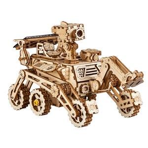 Image 3 - Robotime rokr diyソーラーエネルギー木製ブロックおもちゃモデル構築キットスペース狩猟組立おもちゃ子供のため