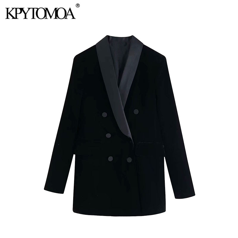 Vintage Stylish Double Breasted Velvet Blazer Coat Women 2020 Fashion Long Sleeve Pockets Office Wear Female Outerwear Chic Tops