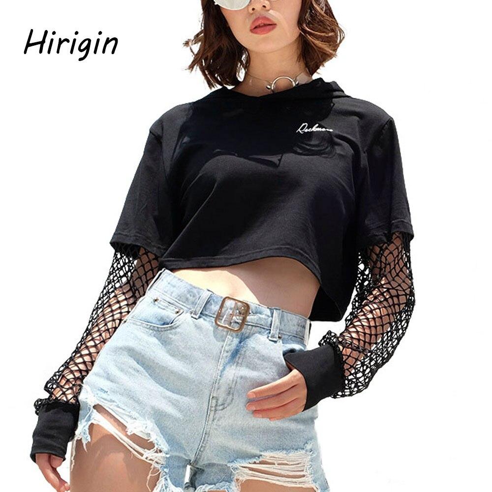Mesh Sleeves Hoodies Women Crop Patchwork Long Sleeve Sweatshirt Jumper Hooded Pullover Harajuku Hoody Sweatshirt For Girl 2020