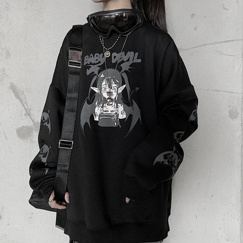 Cool Black Spring Devil Hoodies Sweatshirts Casual Men Women Hooded Pullover Hoodie Hip Hop Punk Loose Hoodie Streetwear Women