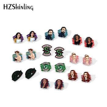 2020 New Mysteries Of Riverdale Stud Earring Jughead Acrylic Earring Handmade Jewelry Epoxy Shrinky Dinks Resin Earrings