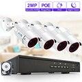 Zoohi 1080 p kit de vigilância por vídeo sistema de câmera de segurança ao ar livre cctv câmera sistema de segurança kit poe sistema de câmera ip66 remoto