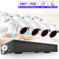 Zoohi 1080P Video Surveillance Kit Security Camera System Outdoor CCTV Camera Security System Kit POE Camera System IP66 Remote