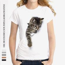 Gorący sprzedawanie nadruk kota t-shirty zepsute ubrania kobiety Plus rozmiar krótki luźny rękaw dopasowanie damskie Modol koszulki Kawaii 2021