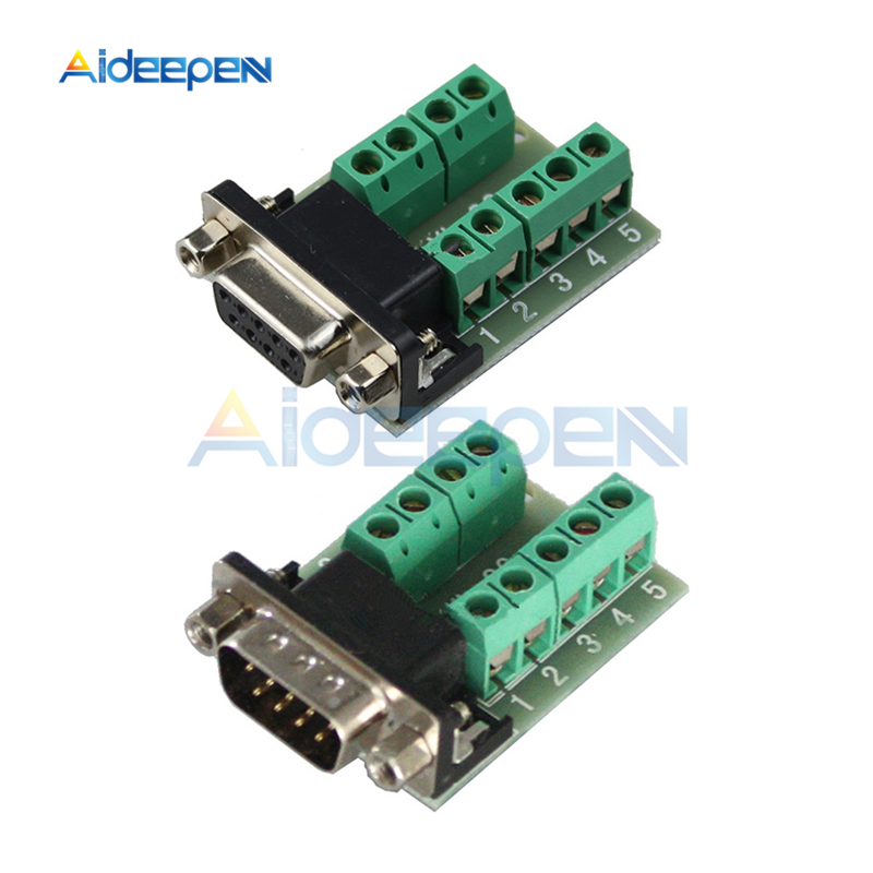 DB9 Connector COM Transfer-free Solder Terminal DB9 Male Female Connector RS232 DB9 9 Pin Adapter Breakout Board Black+Green