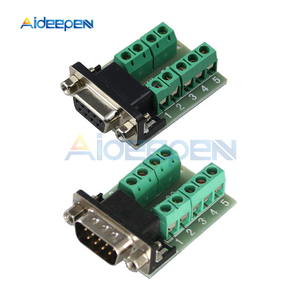 DB9 Connector COM Transfer-free Solder Terminal DB9 Male Female Connector RS232 DB9 9 Pin Adapter Breakout Board Black+Green(China)