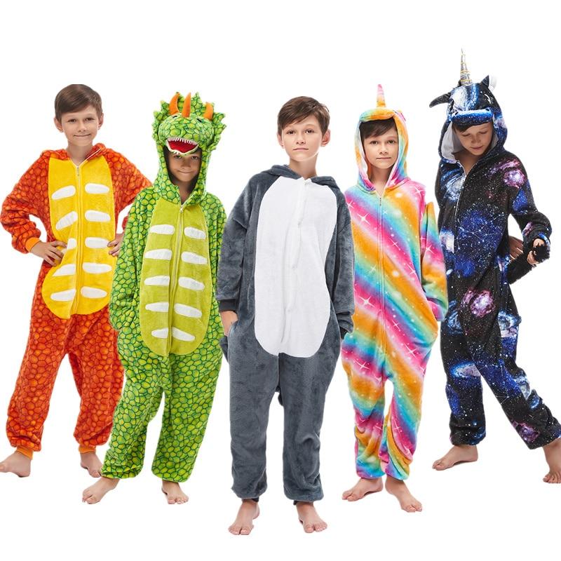 Coton flanelle enfants pyjamas hiver animaux vêtements de nuit pour garçons Onesies enfants Lion Husky costumes famille licorne
