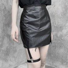 Punk PU Leather Black Skirt Goth Skirt Gothic Streetwear Leg Strap Mini Skirt Harajuku A Line High Waist Skirt Club Wear Outfits