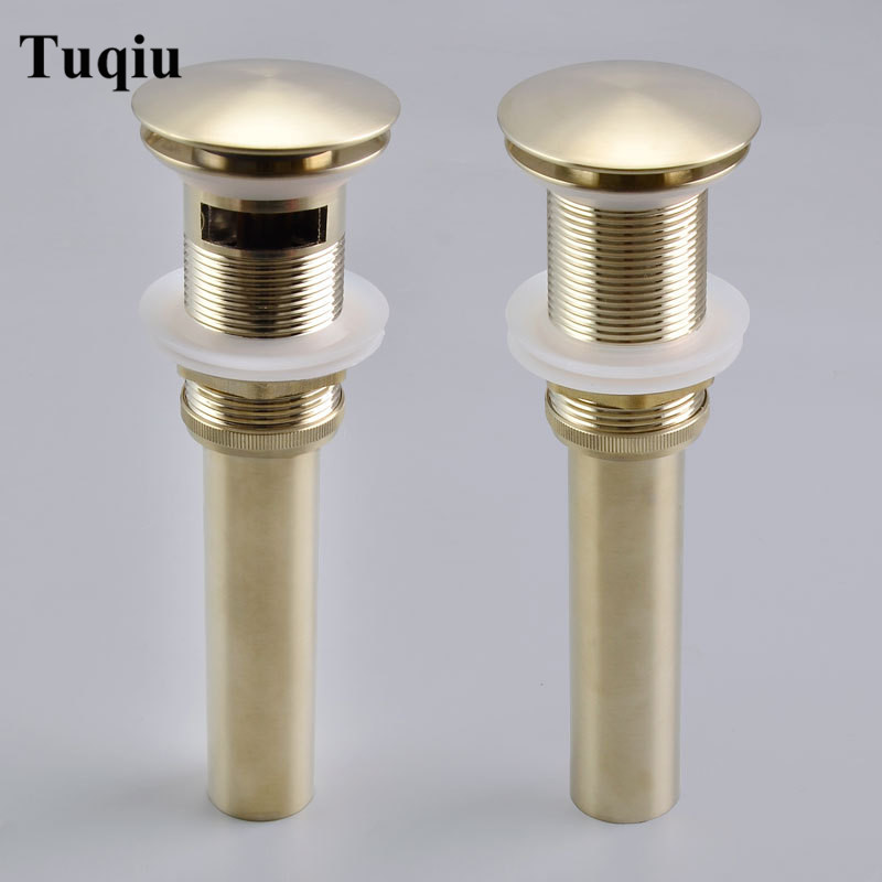 Pop Up Drain For Bathroom Sink Vessel Vanity, Brushed Gold Solid Brass Assembly Replacement Kits Stopper, Flip Top, Overflow