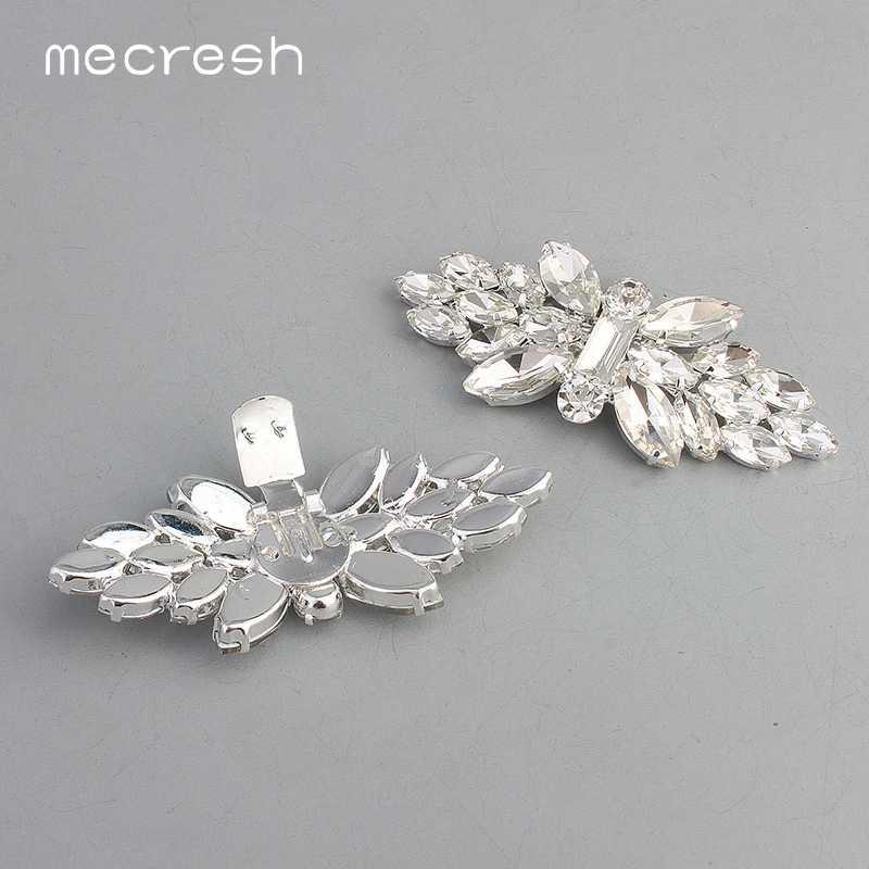 Mecresh かわいい花クリスタル結婚式の靴バックル女性のための翼の形状ブライダルハイヒールクリップアクセサリー 2 ピース/ロット MXK010