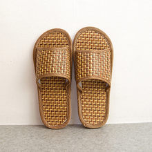 Unisex Couples Cane Household Slippers Indoor Shoes Home straw summer bamboo sandals and slippers тапочки домашние женские(China)