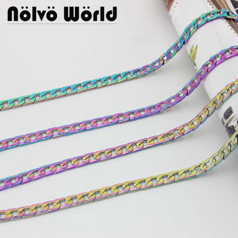 1 Meter Test, 7.8mm Wide, High-grade Rainbow Metal Chain  Bag Chain Handbag Shoulder Bags Chain Handle Pull Accessories