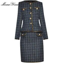 Conjunto de Diseño de Moda de MoaaYina para mujer, chaqueta de manga larga con una hilera de botones, Tops y falda, traje de lana de dos piezas