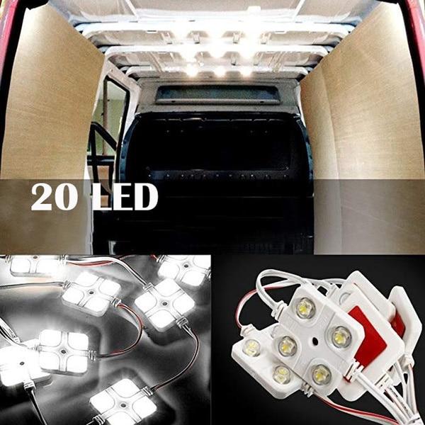 10x4led Led White Bed Light Interior Light Kit For LWB Van Trailer Card LED Injection Four Lights Square Module