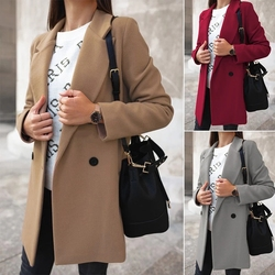 2020 misturas de lã casaco feminino casaco de lã camelo outono inverno a nova moda estilo longo jaqueta feminina