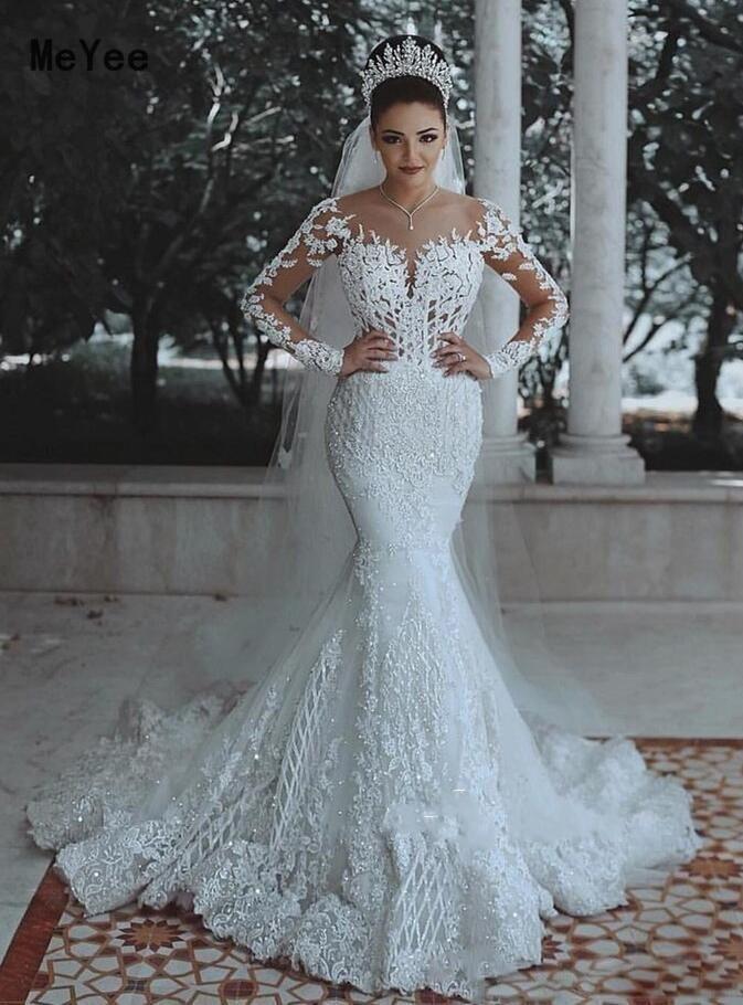 Luxury Long Sleeves Wedding Dresses 2020 Sheer Neck Cover Button Back Lace Applique Vestido de noiva Long Mermaid Bridal Gowns