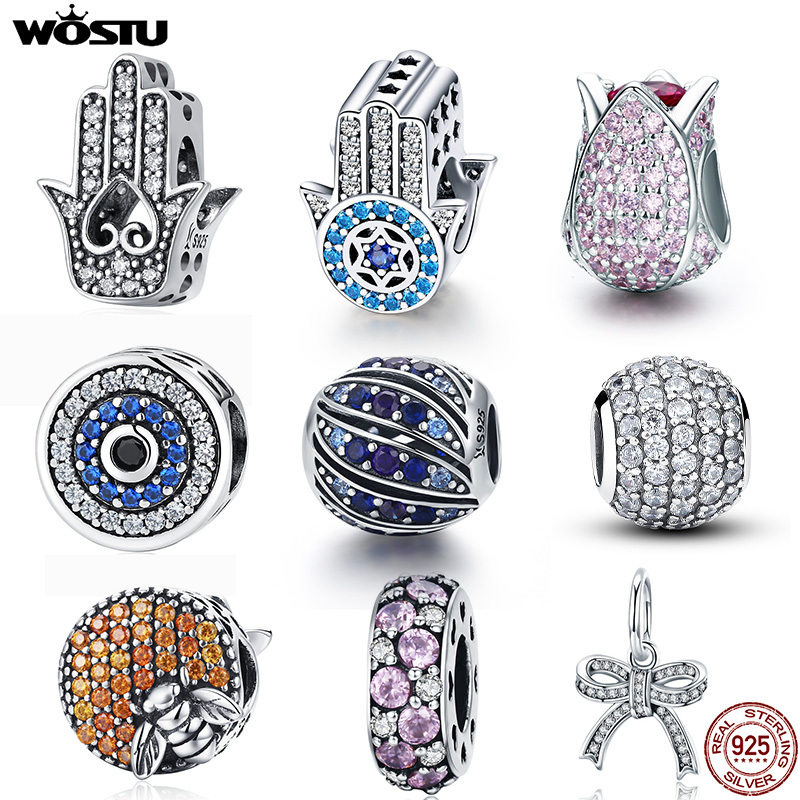WOSTU 100% Real 925 Sterling Silver Dazzling Zircon Charm Beads Fit Original DIY Bracelet Pendants Necklace SIlver 925 Jewelry(China)