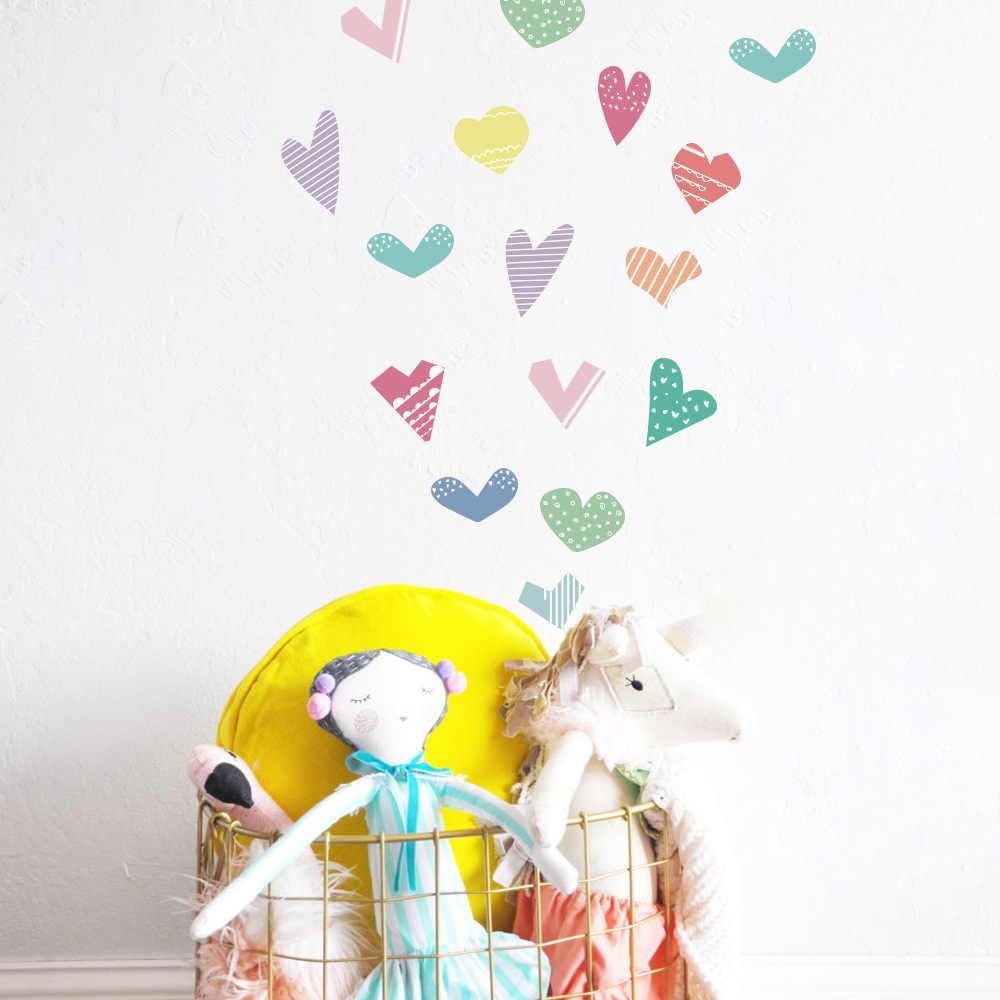 القلب نمط DIY بها بنفسك الجدار ملصق للمنزل غرف الاطفال فتاة غرفة الفينيل مقاوم للماء انفصال صور مطبوعة للحوائط ديكور المنزل الحديث