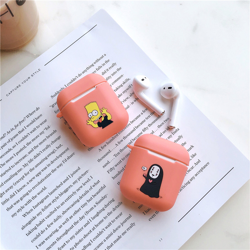 Cute Funny Cartoon Simpson Protective Bag for Apple IPhone Airpods Bluetooth Wireless Headphone Charging Earphone Cover Case