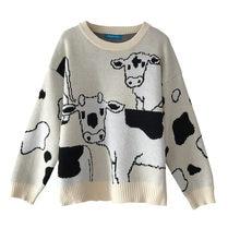 Винтажный Повседневный свободный свитер из коровьей кожи женский