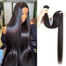 Wigirl 28 30 40 polegada pacotes de cabelo em linha reta 100% extensão do cabelo humano brasileiro tecer pacotes para a mulher negra remy