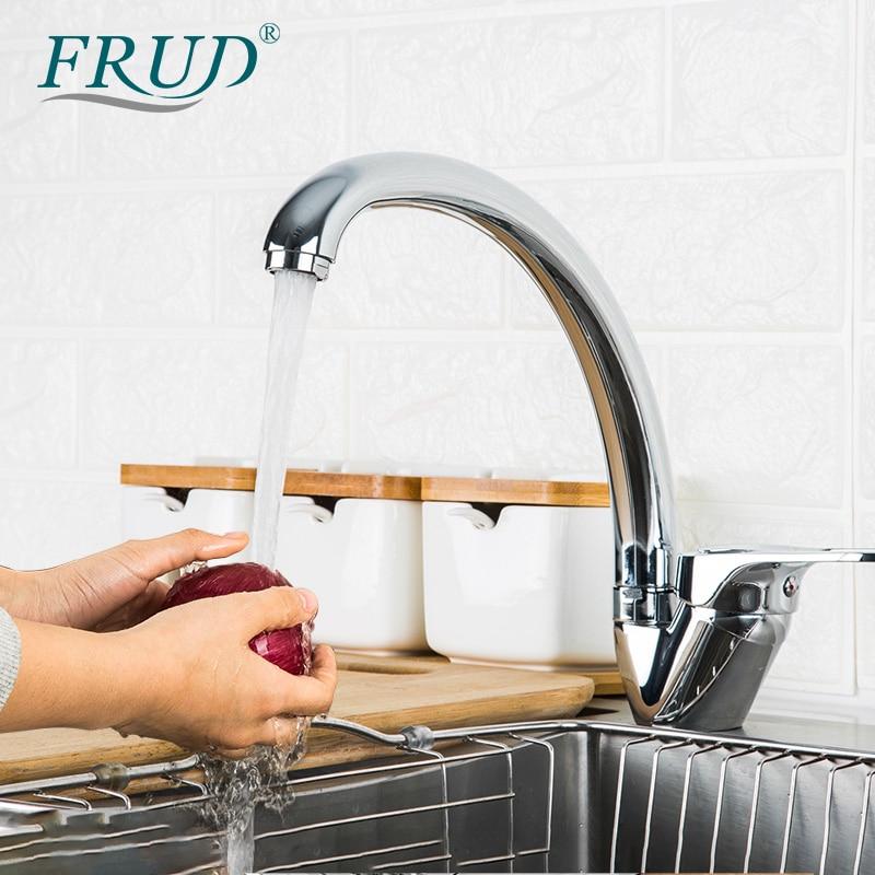 FRUD Kitchen Faucet Sink Mixer Tap Hot&Cold Mixer Single Handle Kitchen Faucets Swivel Spout Kitchen Water Sink Mixer Tap Faucet