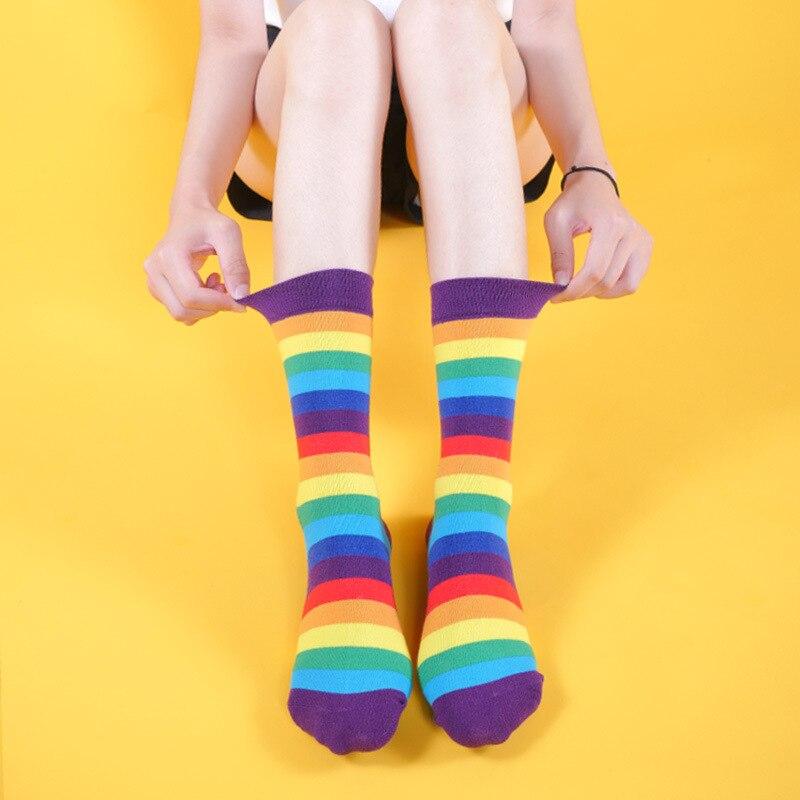 Fashion Streetwear Striped Rainbow Socks Women Japanese Style Tube Socks Hip Hop For Autumn 372
