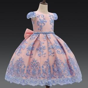 Image 3 - Lüks yay prenses parti elbise bebek kız giysileri çiçek dantel elbiseler kızlar için resmi doğum günü elbise çocuk elbiseleri elbise 7T