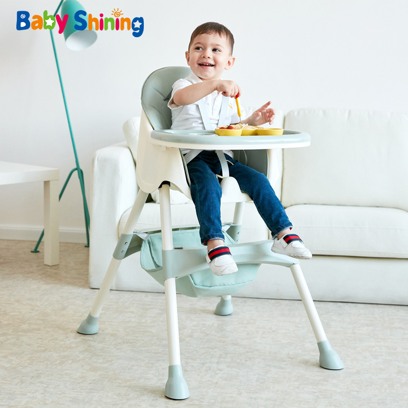 Baby Shining Kids Highchair Feeding Dining Chair Double Tables Macaron Multi-function Height-adjust Portable With Storage Bag