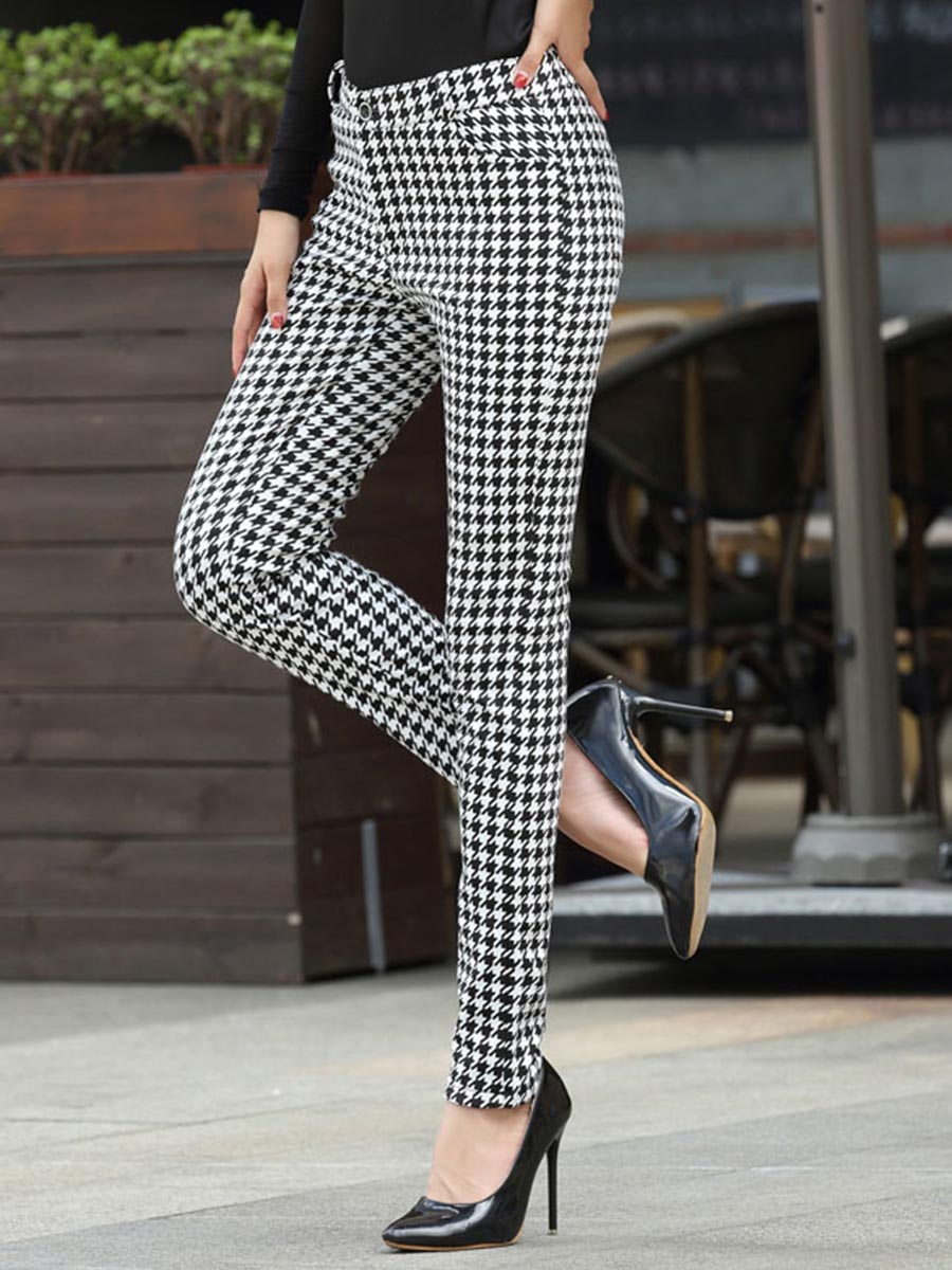 Winter Warm Thicken Fleece Casual Pants High Waist Houndstooth Plaid Print Fashion Fall Office Ladies Elegant Work Plus Size 3XL