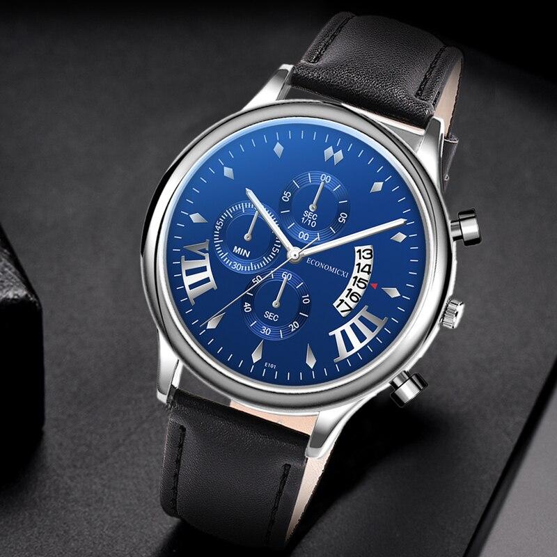Business Men Watch Three Eye Casual Retro Belt Quartz Leather Strap Simple Male WriststWatch Date Clock Gift Relogio Masculino