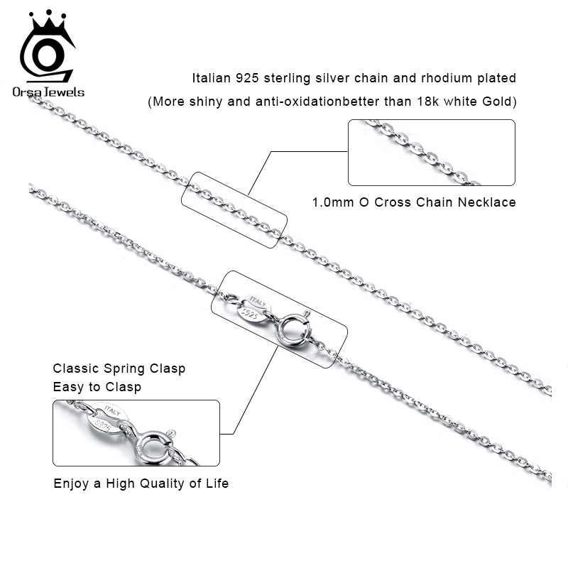 Orsa jewels colar unissex, corrente de prata para as mulheres e homens, básica, corrente de pescoço, na moda, com caixa de prata osc20 joias
