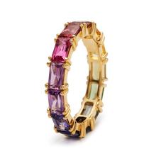 Huitan 5 kolorów błyszczące Cubic cyrkon kobiety pierścienie złoty kolor kobiet odzież na co dzień stylowe kolorowe pierścienie rocznica dziewczyna prezent biżuteria tanie tanio CN (pochodzenie) Mosiądz Cyrkonia TRENDY Obrączki ślubne GEOMETRIC Zgodna ze wszystkimi F508 Z wystającym oczkiem moda