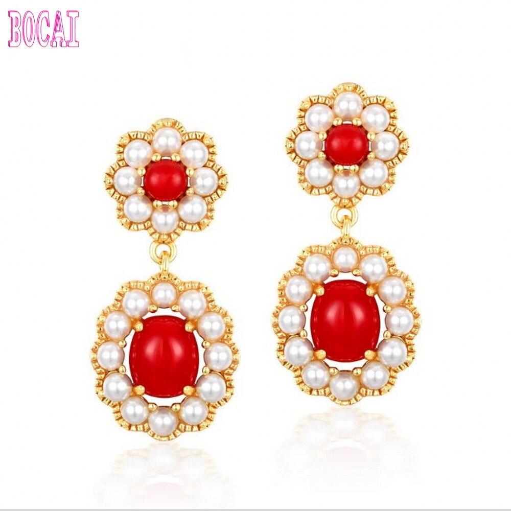 Vintage rouge corail fleur nouveau 925 argent boucles d'oreilles classique cour Shell perle boucles d'oreilles femmes mode argent boucles d'oreilles