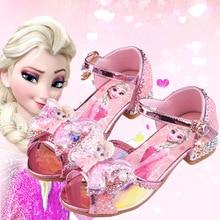 Disney Frozen Sandals For Baby Girls Elsa Princess Kids Leather Shoes High Heel Summer Sandals Butterfly Knot Party Dress