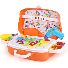 Kids Home Toolbox Electric Drill Building Kit Set Car Style Nut Pretend Play Disassembly Educational Toys Assembled Toys For Boy